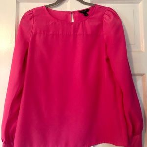 J Crew Hot Pink Long-Sleeved Blouse Small